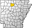 Map showing Searcy County location within the state of Arkansas